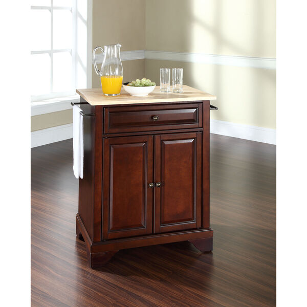 LaFayette Natural Wood Top Portable Kitchen Island in Vintage Mahogany Finish, image 3