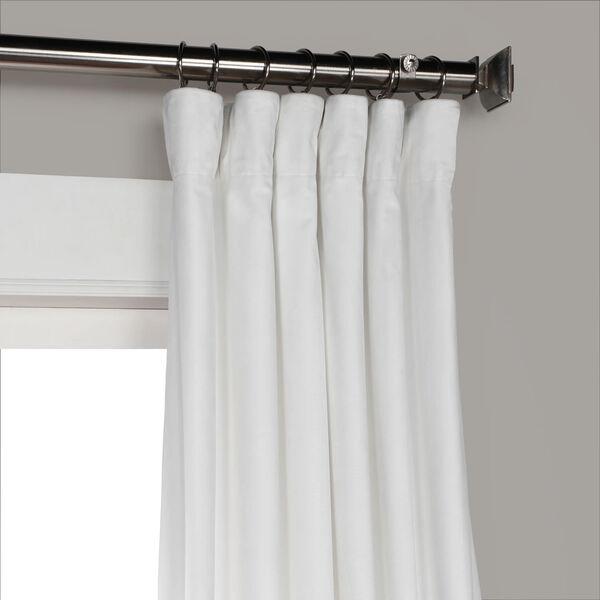 White 108 x 50 In. Plush Velvet Curtain Single Panel, image 7
