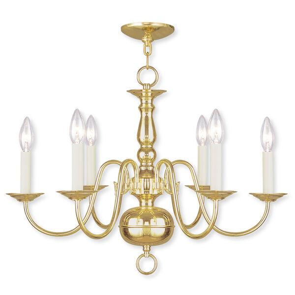 Williamsburgh Six-Light Polished Brass Chandelier, image 1