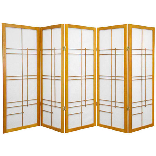 Four Ft. Tall Low Eudes Shoji Screen - Honey Five Panel, Width - 85 Inches, image 1
