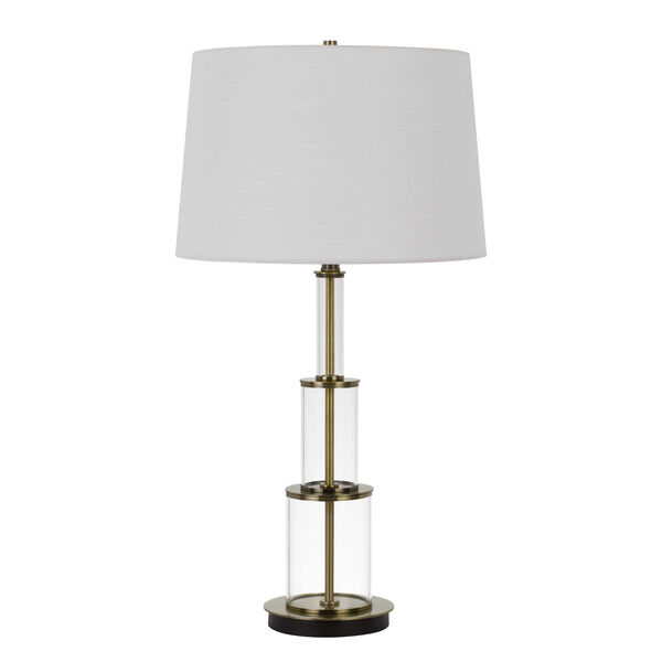 Brest Antique Brass and White One-Light Table lamp, image 1