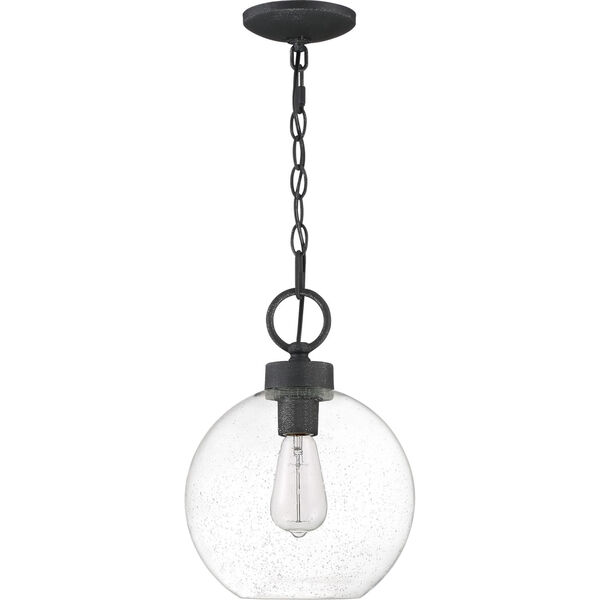 Barre Grey Ash 10-Inch One-Light Outdoor Hanging Lantern with Clear Seedy Glass, image 6