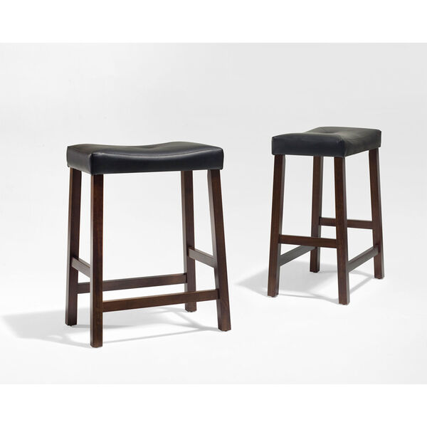 Upholstered Saddle Seat Bar Stool in Vintage Mahogany Finish with 24 Inch Seat Height- Set of Two, image 3