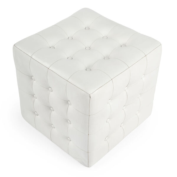 Accent Seating Leon White Leather Ottoman, image 5