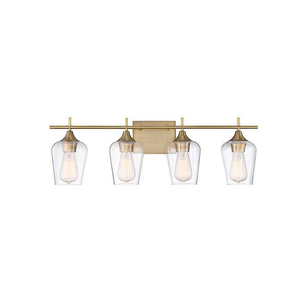 Nicollet Warm Brass 29-Inch Four-Light Bath Vanity, image 1