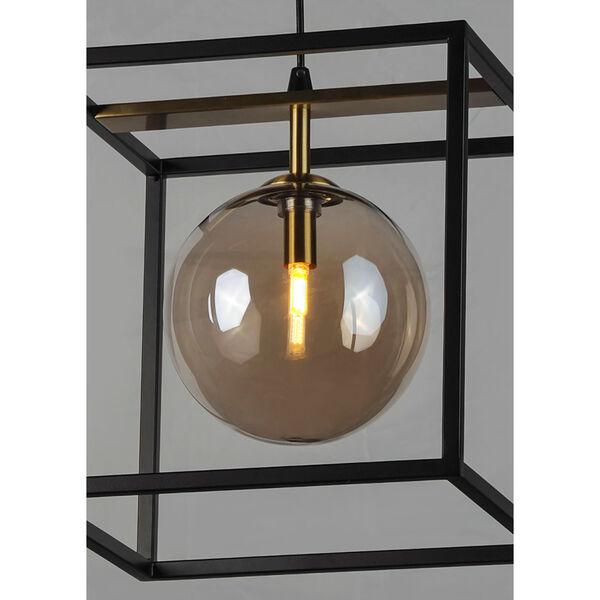 Fluid Black and Satin Brass LED Single Pendant, image 3