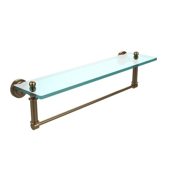 Dottingham Brushed Bronze 22x5 Glass Shelf w/ Towel Bar, image 1
