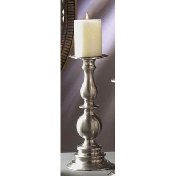 Pewter Pillar Candleholder - 12 Inches Tall, image 1
