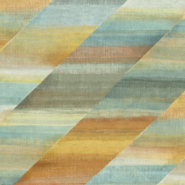 Boho Rhapsody Burnt Orange and Seafoam Rainbow Diagonals Unpasted Wallpaper, image 2