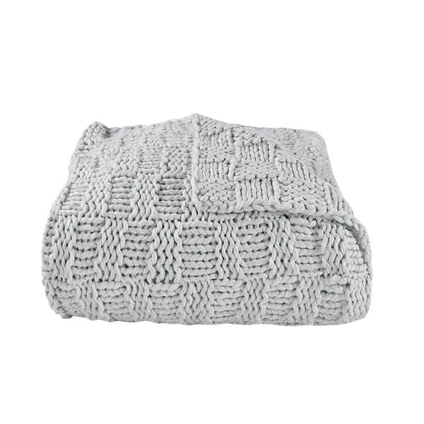 Chess Gray 50 In. X 60 In. Knit Throw, image 1