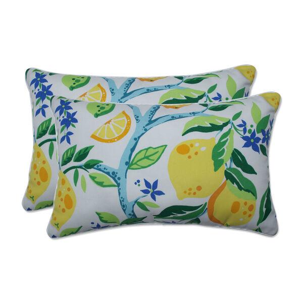 Lemon Yellow Blue Green Throw Pillow, Set of Two, image 1