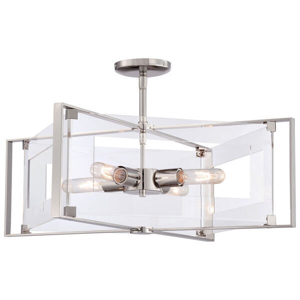Crystal-Clear Polished Nickel Four-Light Convertible Semi-Flush Mount, image 1
