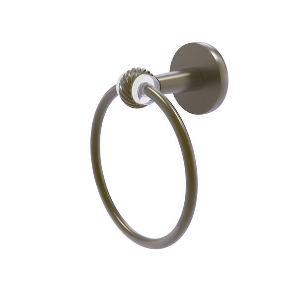 Clearview Antique Brass Seven-Inch Towel Ring with Twist Accents, image 1