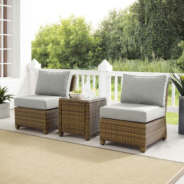 Bradenton Gray Weathered Brown Three-Piece Outdoor Wicker Chair Set, image 1