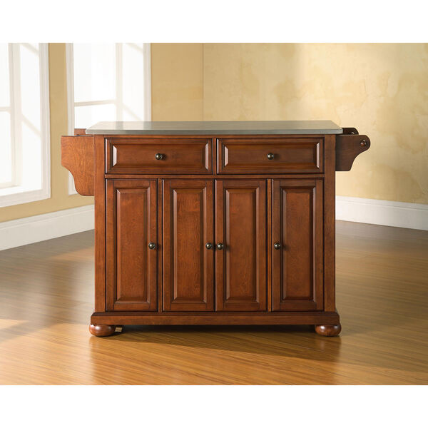 Alexandria Stainless Steel Top Kitchen Island in Classic Cherry Finish, image 5