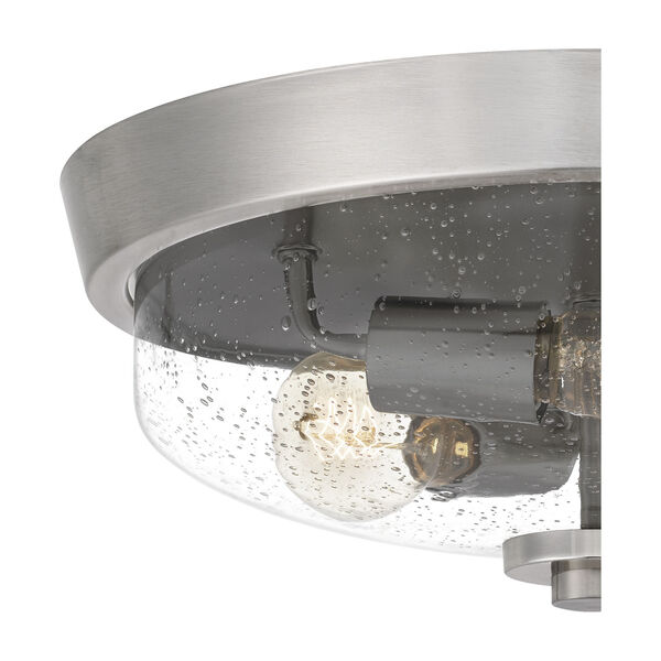 Radius Brushed Nickel 15-Inch Three-Light Flush Mount with Clear Seeded Glass, image 5