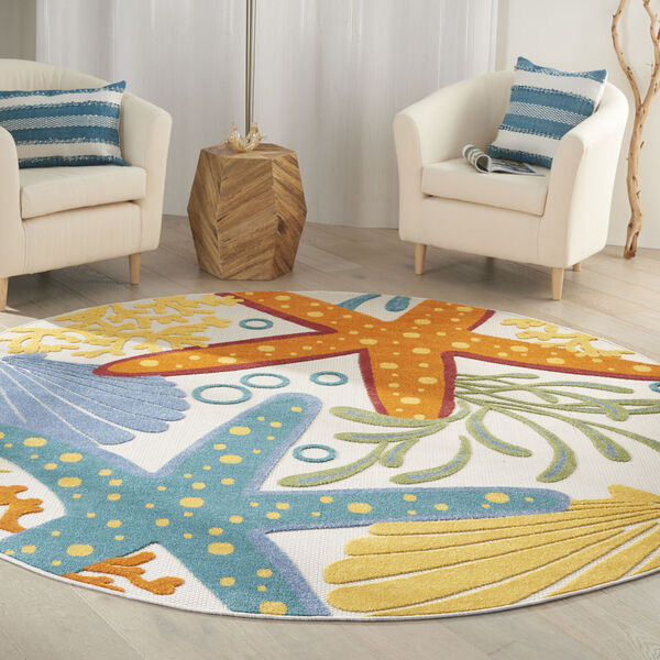 Aloha Orange and Blue 7 Ft. 10 In. x 7 Ft. 10 In. Round Indoor/Outdoor Area Rug, image 1