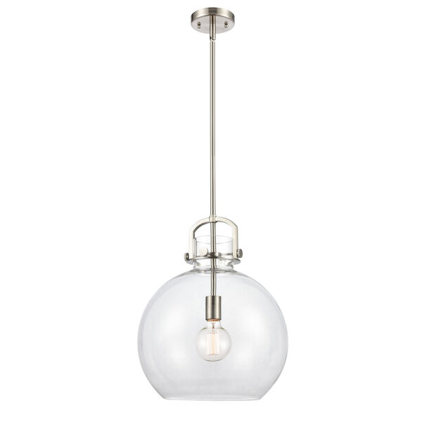 Newton Brushed Satin Nickel One-Light Pendant with Clear Sphere Glass, image 1