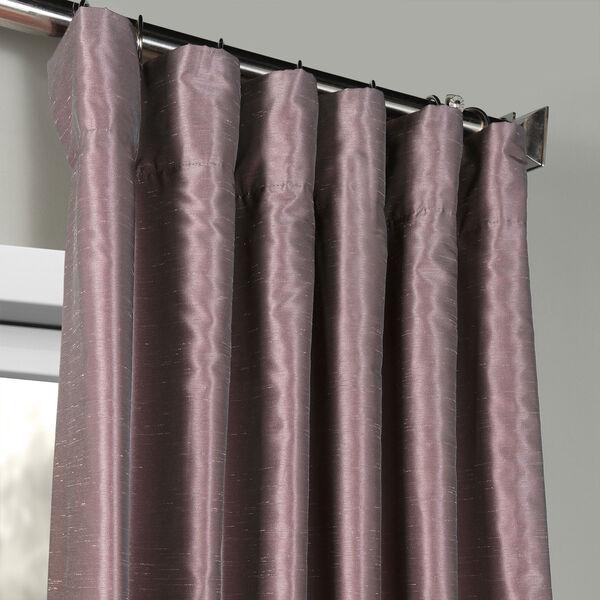 Smoky Plum Vintage Textured Faux Dupioni Silk Single Panel Curtain, 50 X 108, image 2