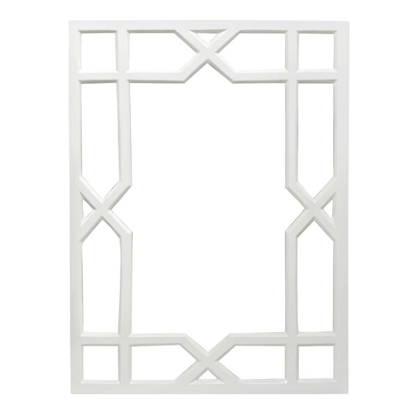 Glossy White Lacquer Wall Mirror, image 1