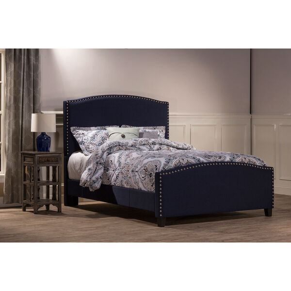 Kerstein Navy Linen Full Complete Bed With Rails, image 1