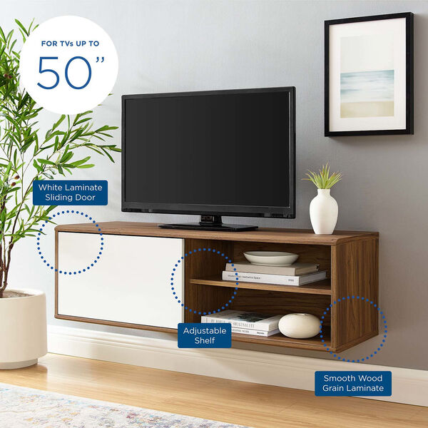 Uptown Walnut and White 46-Inch Wall Mount TV Stand, image 6