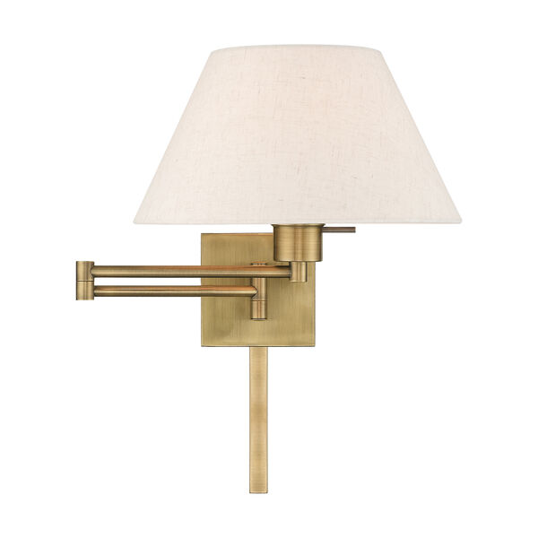 Swing Arm Wall Lamps Antique Brass 13-Inch One-Light Swing Arm Wall Lamp with Hand Crafted Oatmeal Hardback Shade, image 3