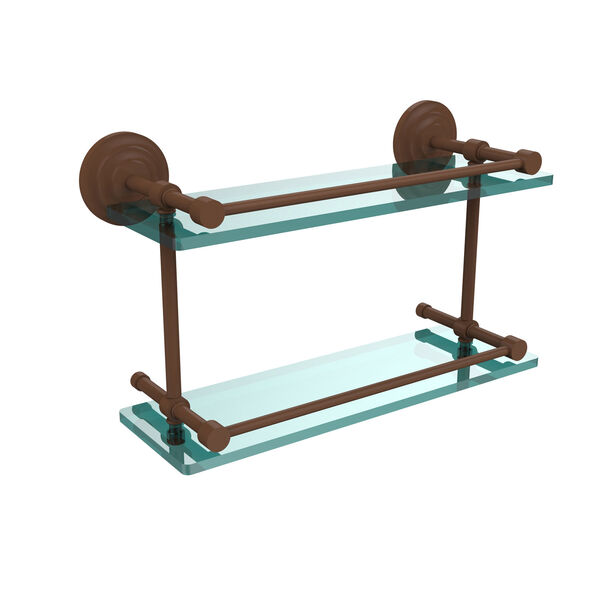 Que New 16-Inch Double Glass Shelf with Gallery Rail, image 1