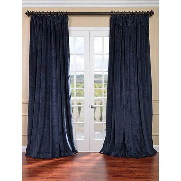 Signature Midnight Blue Double Wide Velvet Blackout Pole Pocket Single Panel Curtain, 100 X 84, image 1