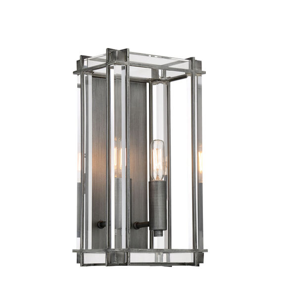 Langen Square Antique Nickel Two-Light Wall Mount, image 1