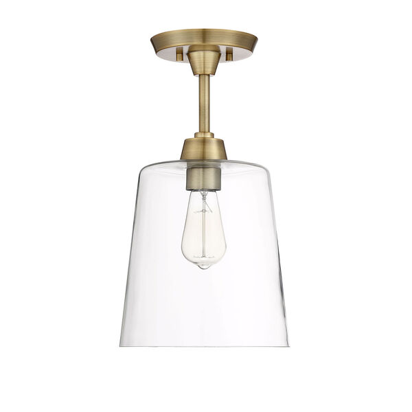 Nicollet Natural Brass 10-Inch One-Light Semi Flush Mount, image 2