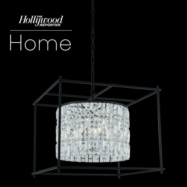 The Hollywood Reporter Joni Matte Black 24-Inch Eight-Light Pendant with Firenze Crystal, image 1