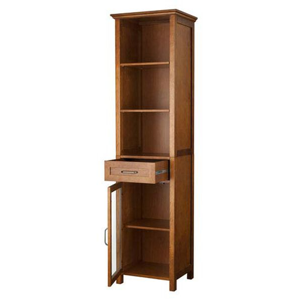 Avery Oak Linen Cabinet with One-Drawer and Three Open Shelves, image 3