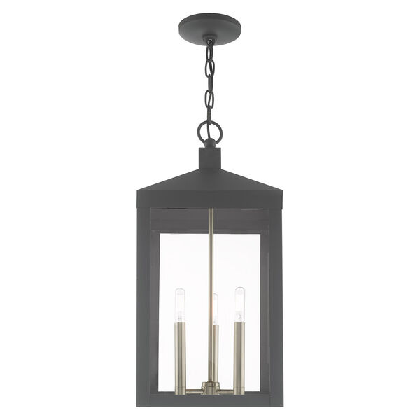 Nyack Scandinavian Gray 11-Inch Three-Light Pendant Lantern, image 3