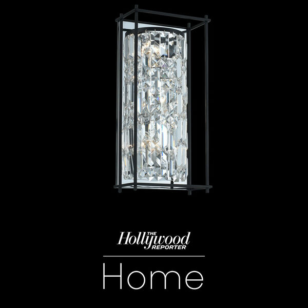 The Hollywood Reporter Joni Matte Black Nine-Inch Three-Light Wall Sconce with Firenze Crystal, image 1