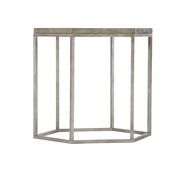 Glazed Silver and Brown Loft Gresham Hexagonal End Table, image 1