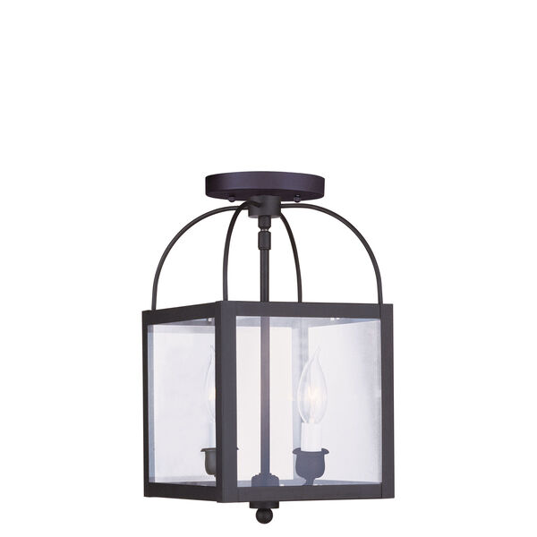 Milford Black Two-Light 15-Inch Convertible Pendant with Clear Glass, image 2