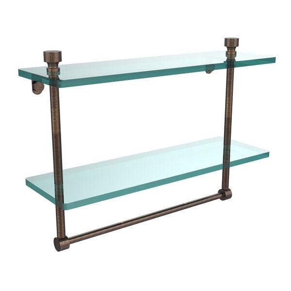 Venetian Bronze 16 Inch Double Glass Shelf with Towel Bar, image 1