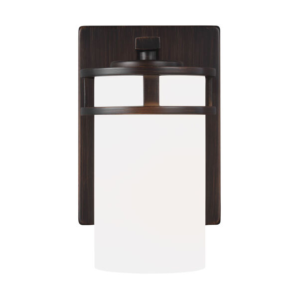 Robie Bronze One-Light Bath Vanity with Etched White Inside Shade, image 1
