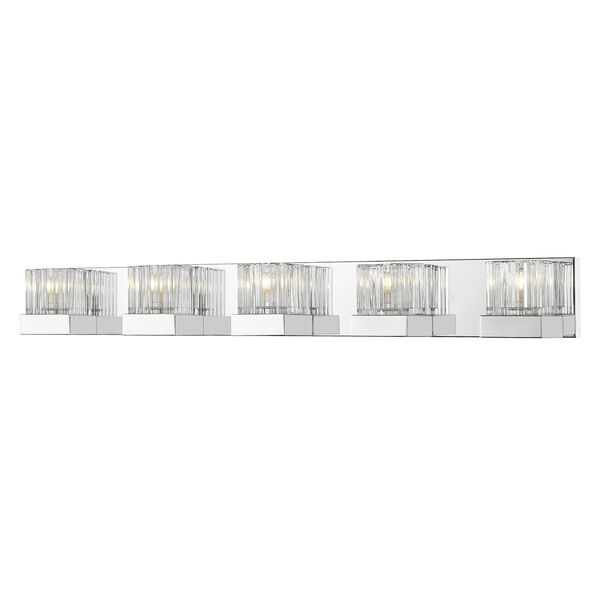 Fallon Chrome Five-Light Vanity With Transparent Ribbed + Frosted Crystal, image 1