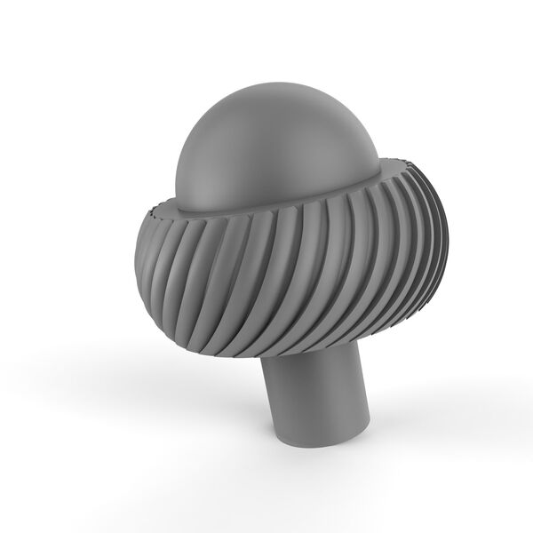 Matte Gray Two-Inch Cabinet Knob with Twisted Ring Detail, image 1