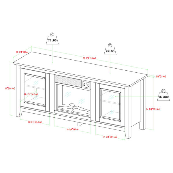58-inch Black Wood Fireplace TV Stand with Doors, image 3
