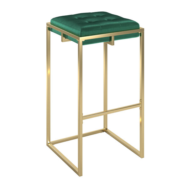 Minnie Gold and Green Velvet Button Tufted Bar Stool, Set of Two, image 1