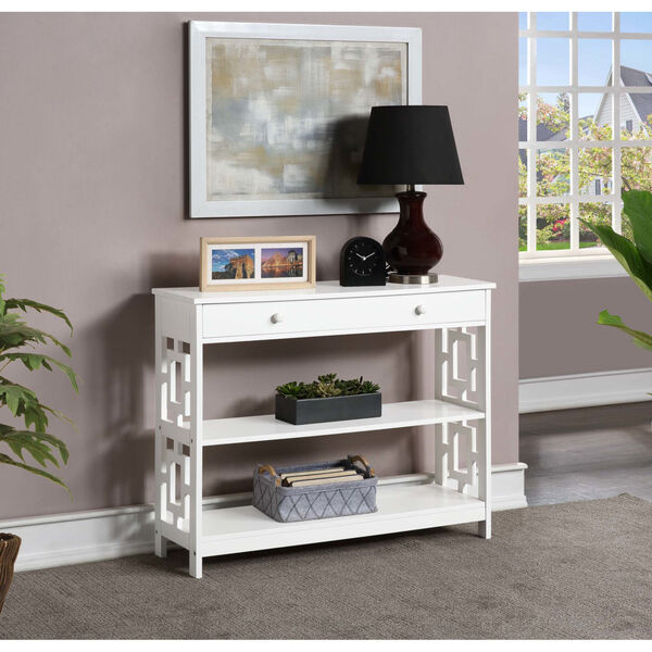 Town Square White Accent Console Table, image 1