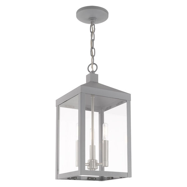 Nyack Nordic Gray Eight-Inch Three-Light Pendant Lantern, image 4