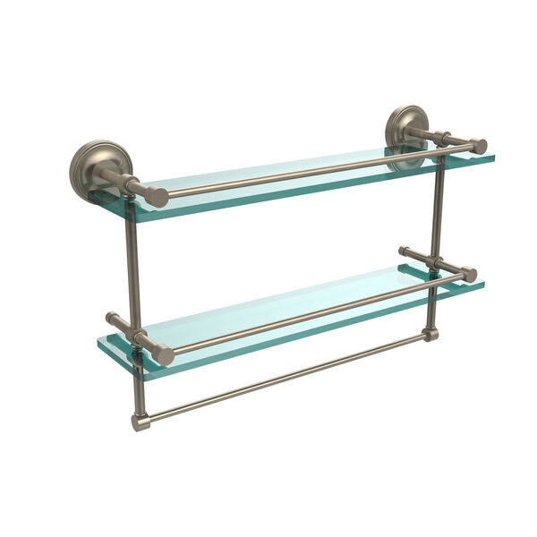 22 Inch Gallery Double Glass Shelf with Towel Bar, Antique Pewter, image 1