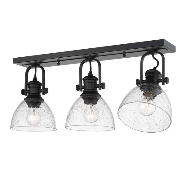 Hines Black Three-Light Semi-Flush Mount With Seeded Glass, image 2