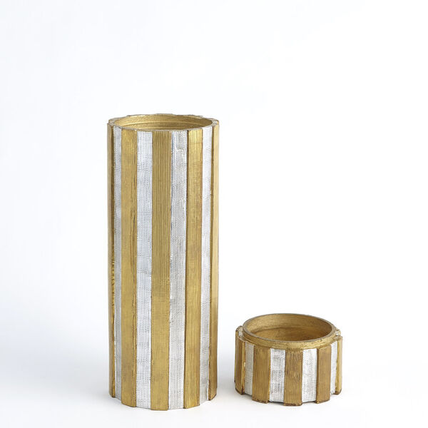 Nickel and Brass 6-Inch Metal Vertical Stripe Box, image 4