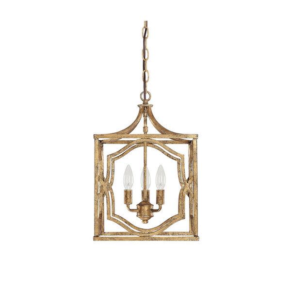 Linden Antique Gold Three-Light Lantern Pendant, image 1