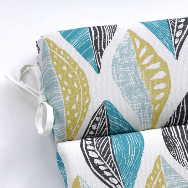 Leaf Block Teal and Citron Round Corner Chair Cushion, image 3